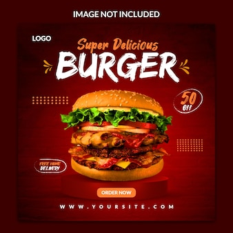 Lebensmittelmenü-burger und restaurant-social-media-banner-vorlage