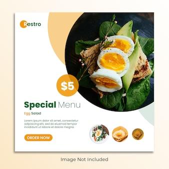 Lebensmittelrestaurantsocial media-beitragsnetz-fahnenschablone