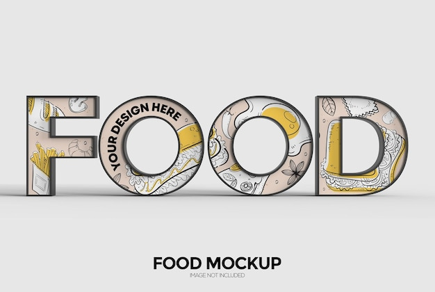 Lebensmittelwortzeichenmodell für werbung oder branding