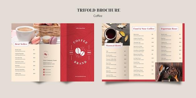 Leckere kaffee-trifold-broschüre