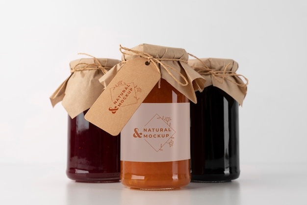 Leckeres marmeladenglas-etikettenmodell