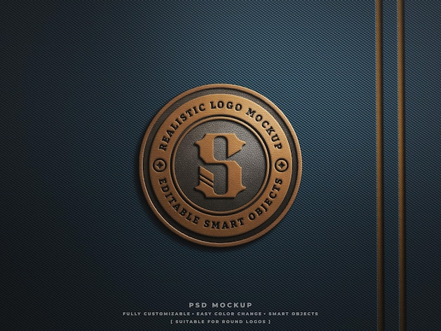 Leder-logo-abzeichen oder patch-mockup auf rauem, hartem kohlefasergewebe graviert