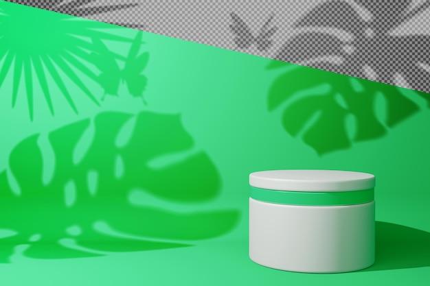 Leere anzeige mit blättern schatten in 3d-rendering