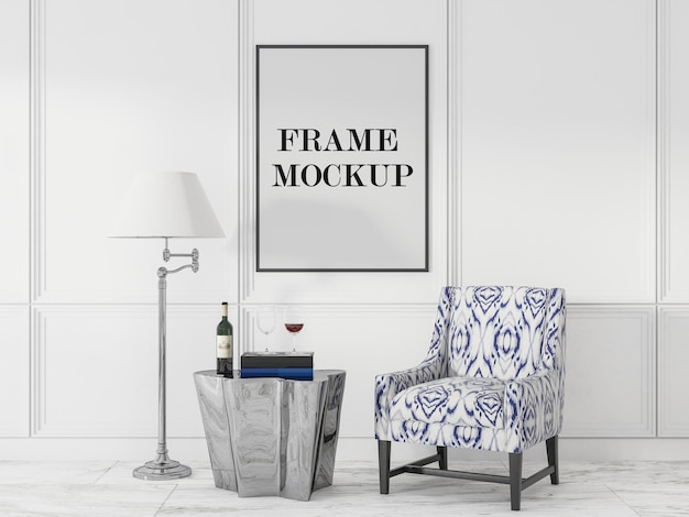 Leere plakatrahmenschablone im luxuswohnzimmer