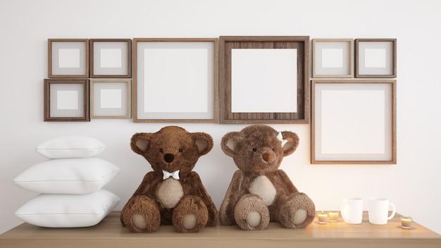 Leere rahmen mit teddybären und kerzen