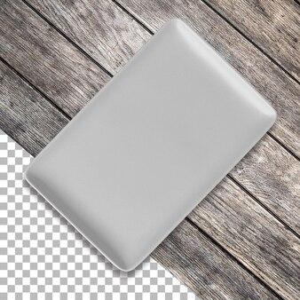 Leere rechteckige keramikplatte, ansicht von oben isoliert auf transparenz