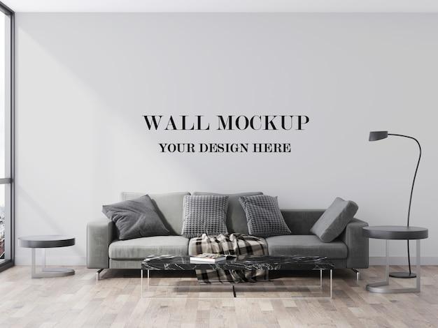 Leere wand hinter grauer moderner sofa 3d visualisierung
