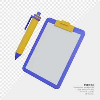 Leere zwischenablage mit stift 3d-illustration