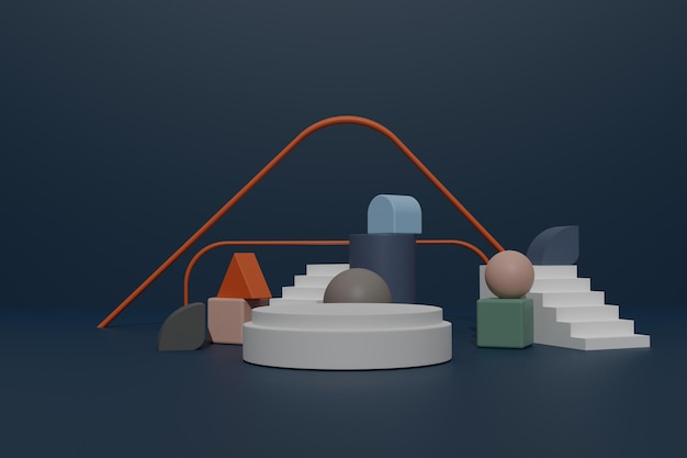 Leerer 3d-render-podiumshintergrund mit geometrischer form für die produktpräsentation