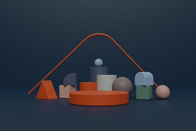 Leerer 3d-renderpodiumhintergrund mit geometrischer form für produktstand