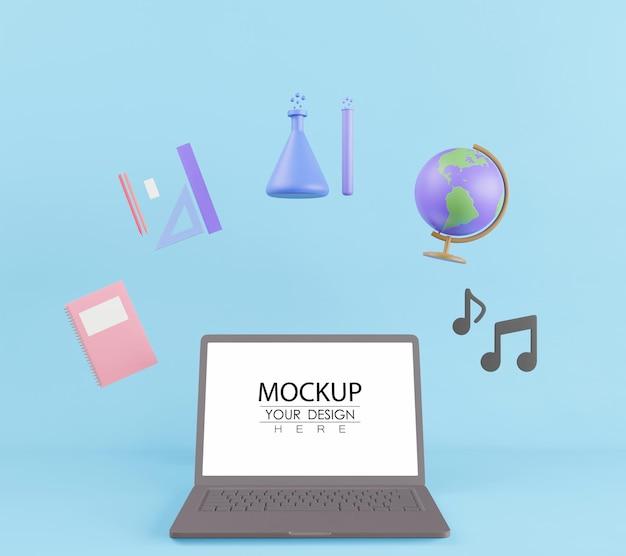Leerer bildschirm laptop-computer mit schwebenden elementen