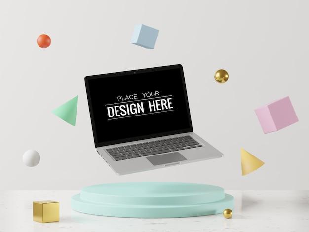 Leerer bildschirm laptop-computer modell auf modernem hintergrund