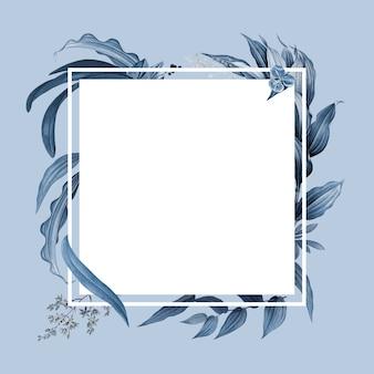 Leerer rahmen mit blauem blattdesign