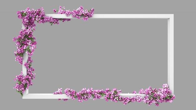 Leerer rechteckrahmen mit rosa bougainvillea-aquarellfilter