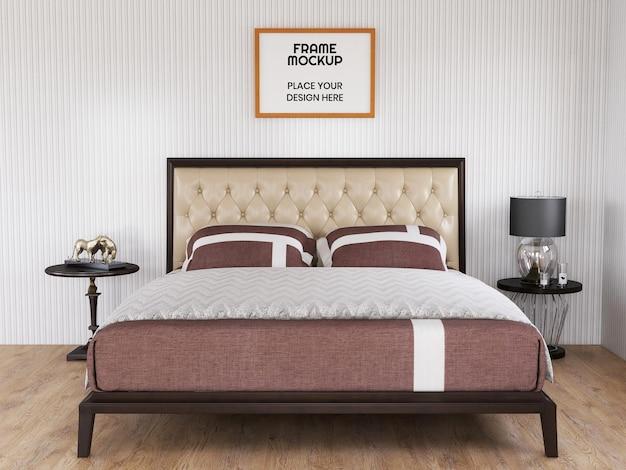 Leeres fotorahmen-modell realistisch im schlafzimmer