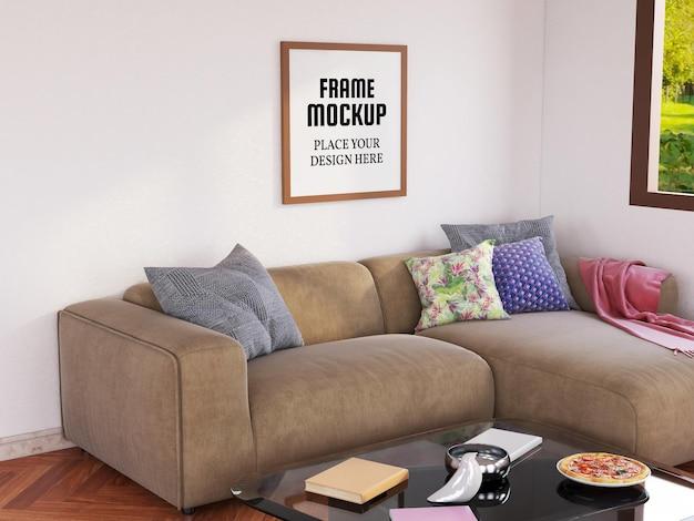 Leeres fotorahmenmodell im wohnzimmer