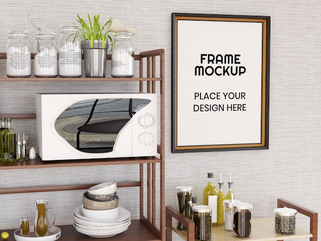 Leeres fotorahmenmodell in der küche