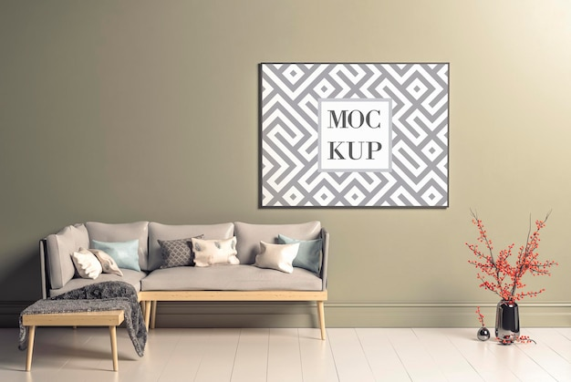 Leeres horizontales plakatrahmenmodell im wohnzimmerinnenraum des skandinavischen stils