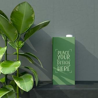 Leeres milch- oder saftkartonmodell für branding und identität. bereit für ihr design