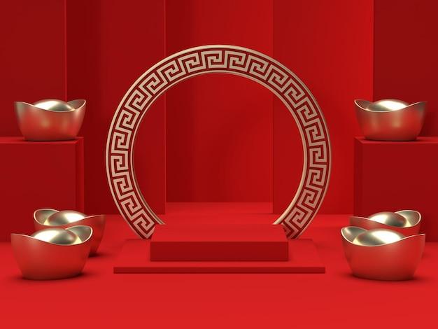 Leeres podest des chinesischen neujahrsfestivals in der 3d-darstellung