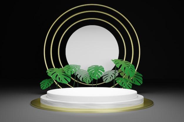 Leeres podium der 3d-wiedergabe mit tropischen blättern