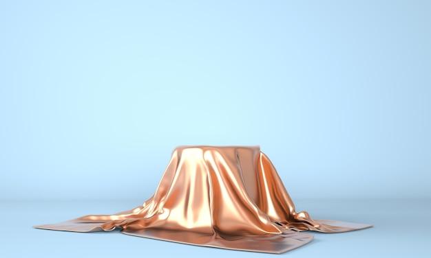 Leeres podium mit goldenem stoff bedeckt
