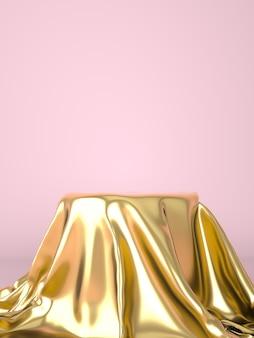 Leeres podium mit goldenem tuch bedeckt