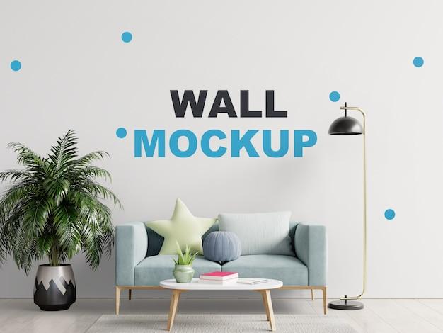 Leeres wohnzimmer mit blauem sofa, pflanzen und tisch-3d-rendering