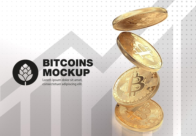 Legen sie das goldene bitcoin-mockup fest