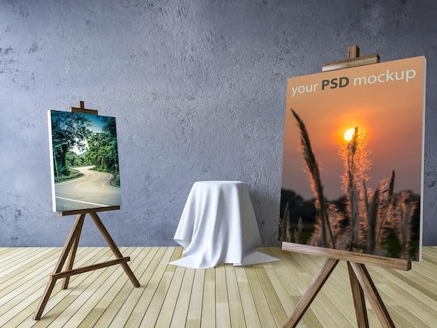 Leinwand und studio kunst mock-up