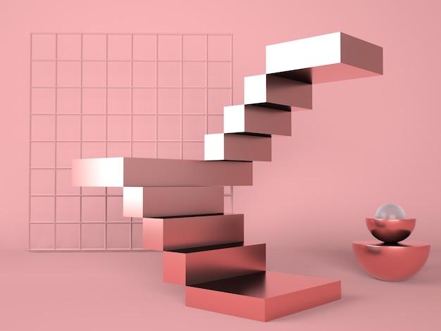 Leiter mit einem podium für die präsentation neuer produkte im 3d-rendering