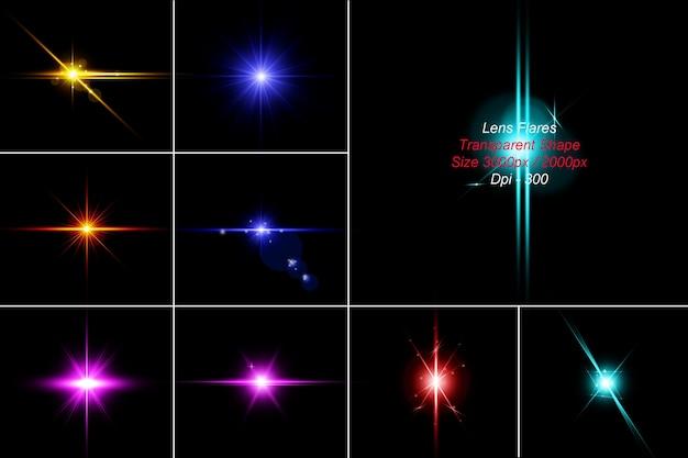 Lens flares pack in 3d-rendering
