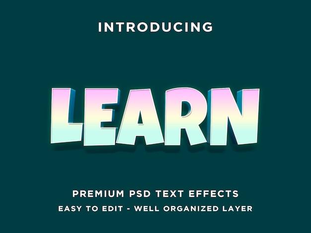 Lernen sie - 3d-text-effekt psd-vorlage