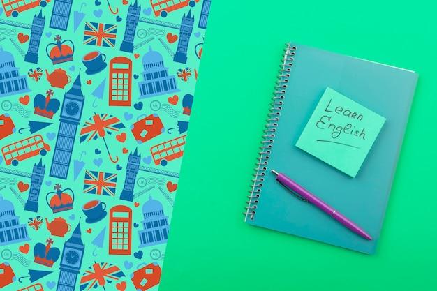 Lernen sie englisch sticky note mock-up