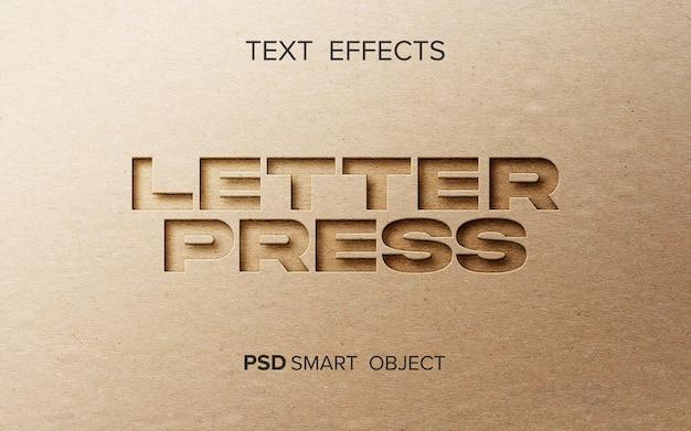Letter press-effektmodell