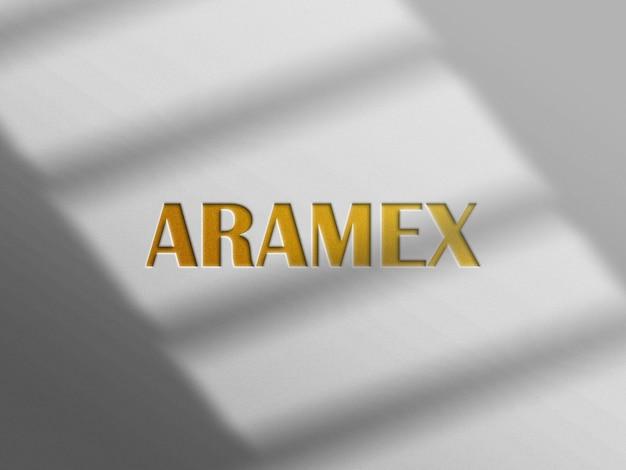 Letterpress-logo-modell mit goldenen effekten