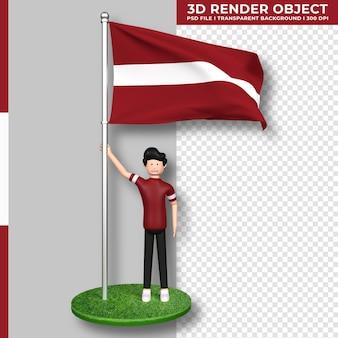 Lettland-flagge mit niedlichen menschen-cartoon-figur. 3d-rendering.