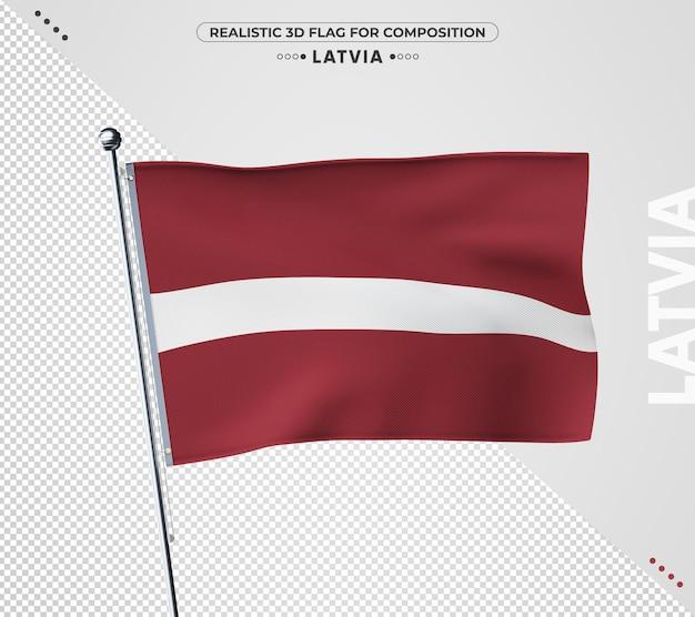 Lettland flagge mit realistischer textur