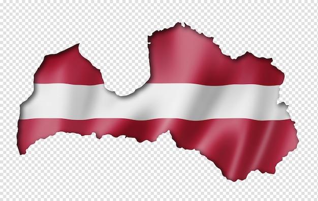 Lettland flaggenkarte, dreidimensionaler render, lokalisiert auf weiß