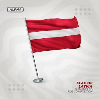 Lettland realistische 3d strukturierte flagge für komposition