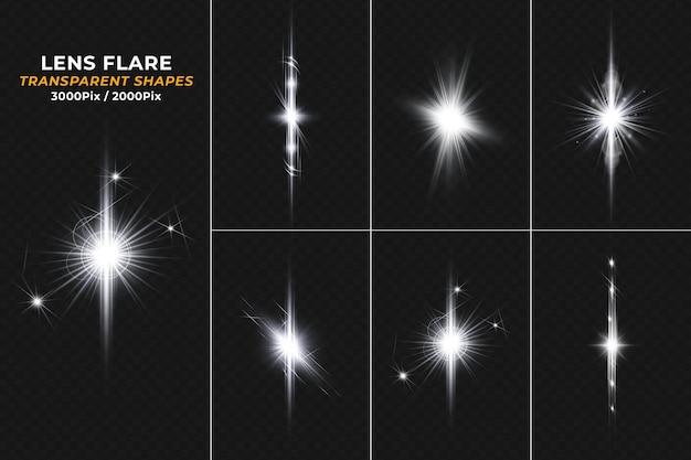 Leuchtend weiße lens flare lichteffektkollektion