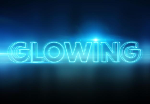 Leuchtender texteffekt mit blauen lichthöfen