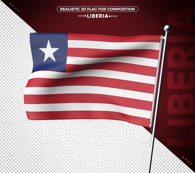Liberia 3d-flagge mit realistischer textur isoliert