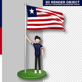 Liberia-flagge mit niedlichen menschen-cartoon-figur. tag der unabhängigkeit. 3d-rendering.