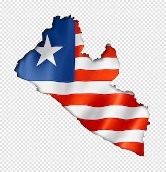 Liberia flaggenkarte, dreidimensionaler render, isoliert auf weiß