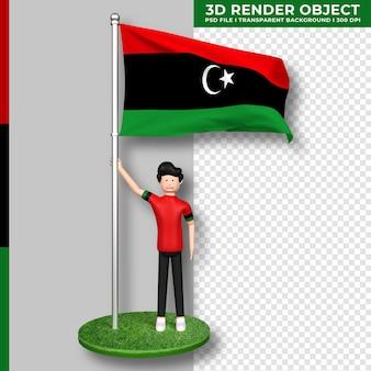 Libyen-flagge mit niedlichen menschen-cartoon-figur. tag der unabhängigkeit. 3d-rendering.