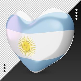 Liebe argentinien flagge herd 3d-rendering rechte ansicht