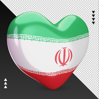 Liebe iran flagge herd 3d-rendering linke ansicht