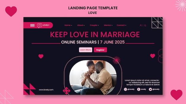 Liebe landingpage mit foto