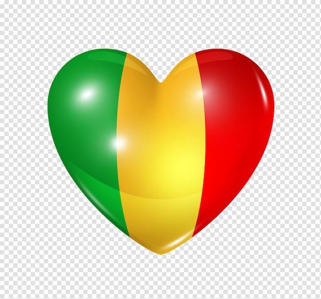 Liebe mali symbol eines 3d-herzens mit flaggenentwurf isoliert